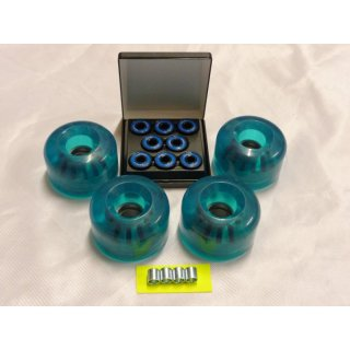 4x LB-Wheel 70x46mm/78A, clear-blue + 4x Spacer + 8x Kugellager 608-ZZ.ABEC7